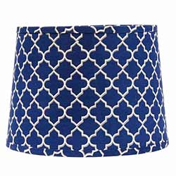 Quatrefoil Tapered Drum Lamp Shade - 14 inch (Cobalt Blue, Grey, White)