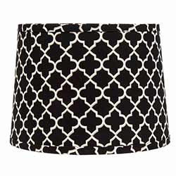 Black Quatrefoil Drum Lamp Shade - 10 inch