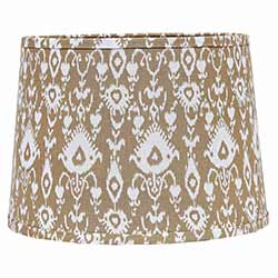 Cream Ikat Drum Lamp Shade - 10 inch