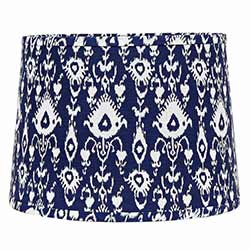 Ikat Tapered Tapered Drum Lamp Shade - 14 inch (Cobalt Blue & White)