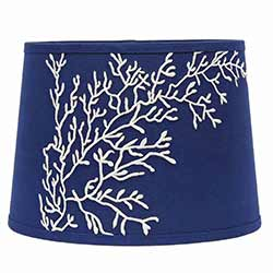 Sea Coral Tapered Tapered Drum Lamp Shade - 14 inch (Cobalt Blue & White)