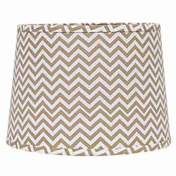 Natural and White Chevron Drum Lamp Shade - 10 inch