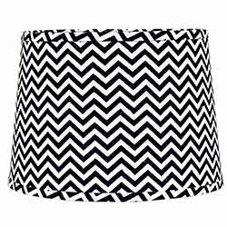 Black and White Chevron Drum Lamp Shade - 10 inch