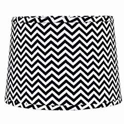 Black and White Chevron Drum Lamp Shade - 10 inch