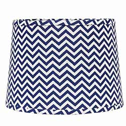 Chevron Drum Lamp Shade - 14 inch (Cobalt Blue & White)