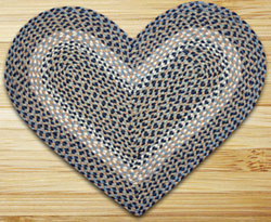 Blue / Natural HEART Jute Rug