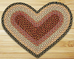 Burgundy, Gray, Cream HEART Jute Rug