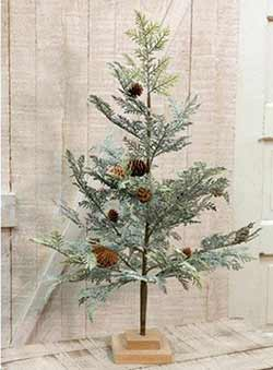 Icy Cedar Tree with Pine Cones - 28 inches