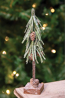 Glittered Pine Tree with Cones - 12 inch