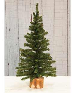 Tabletop Christmas Tree in Wood Slice - 18 inch