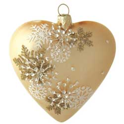 Snowflake Patterned Heart Ornament