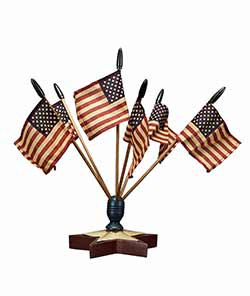 Patriotic Star Flag Finial with Flags
