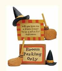 Blossom Bucket Witch Hat and Broom Plaque