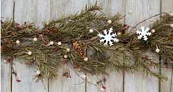 Primitive Berry & Pine Garland with Snowflakes