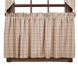 Tacoma Red Plaid Cafe Curtains - 24 inch Tiers