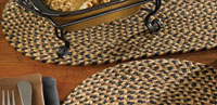 Black, Brown, Tan Braided Tablerunner - 36 inch