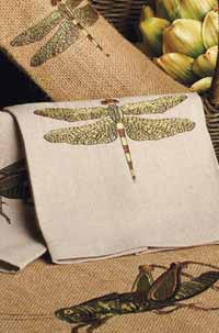 Dragonfly Embroidered Linen Towel