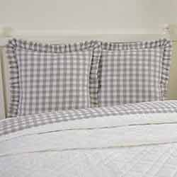 VHC Brands Annie Buffalo Grey Check Fabric Euro Sham