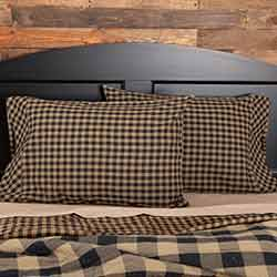 Black Check Pillow Cases, Set of 2 (Black and Tan)