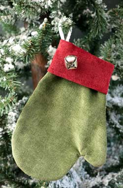 Green Chenille Mitten Ornament