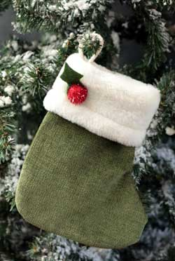 Green Chenille Stocking Ornament