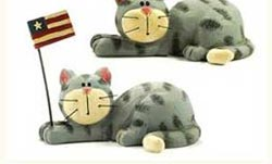 Grey Cat with Flag