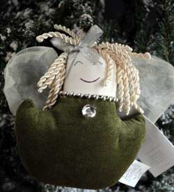 Green Chenille Angel Ornament