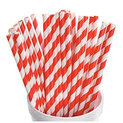Red and White Striped Paper Straws (Set of 25)