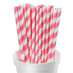 Pink Striped Paper Straws (Set of 25)