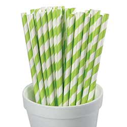 Lime Green Striped Paper Straws (Set of 25)