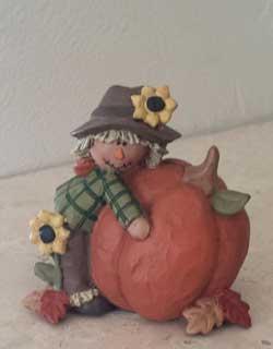 Blossom Bucket Scarecrow with Sunflower & Pumpkin