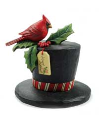 Blossom Bucket Cardinal on Happy Holidays Top Hat