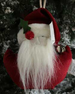 Whimsy Red Chenille Santa Ornament