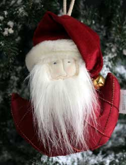 Red Roma Santa Ornament