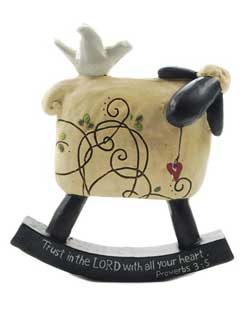Trust in the Lord Rocking Sheep with Dove