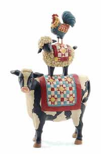 Cow, Sheep, Rooster Stack with Quilt