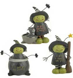 Blossom Bucket Striped Hat Witch with Bat and Star