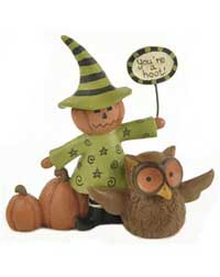 Blossom Bucket You're A Hoot Pumpkin Witch with Owl