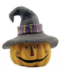 Blossom Bucket Jack O'Lantern with Witch Hat LED