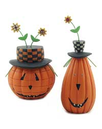 Jack O-Lantern with Sunflower Hat