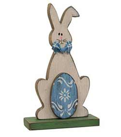 Wooden Bunny with Easter Egg Figurine