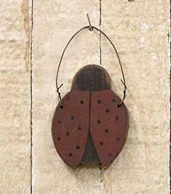 Rustic Wood Ladybug Ornament