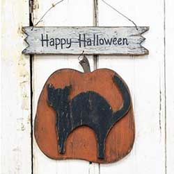 Happy Halloween Pumpkin & Cat Sign