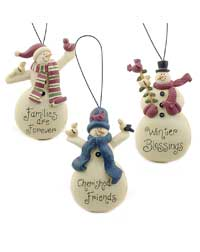 Snowman with Winter Bird Ornament
