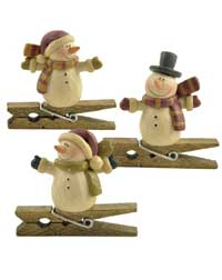 Snowman with Top or Santa Hat Clip