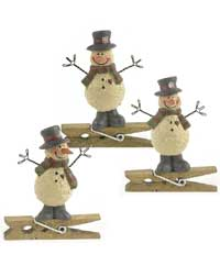 Snowman with Snowflake Top Hat Clip