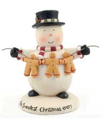 Blossom Bucket Sweetest Snowman Holding String of Gingerbread