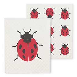 Ladybugs Swedish Dish Cloths (Set of 2)
