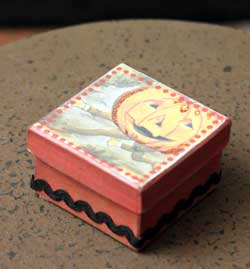 Halloween Small Square Box - Orange with Jack