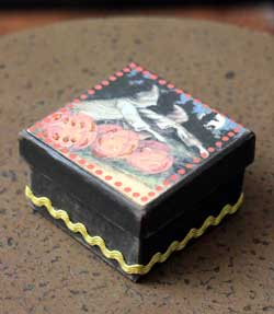 Halloween Small Square Box - Black with Ghosts